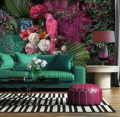 Parrot Wallpaper Floral Wall Mural Colorful Peony Flower Wall Print Tropcai Home Decor Cafe Design Living Room Living Room Green, My Living Room, Living Room Decor, Bedroom Green, Small Living, Bedroom Wall, Living Spaces, Bedroom Decor, Room Colors