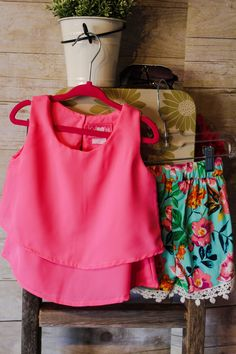 Picture your little one rockin this cute outfit while on vacation, or a girls day out during summer! Small key hole at the back of neck. 100% Polyester