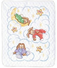 $27.29-$38.00 Baby Simply heaven amid the stars and moon on this Stamped Cross Stitch irresistible sleepy bunnies quilt design by Rosie Lane. A free baby gift card and envelope included. Each kit contains screen printed pre-finished 50% polyester/50% cotton quilt, 6-Strand cotton floss, needle, graph and instructions in English, French, German and Spanish. Check out the bibs and birth announceme ...