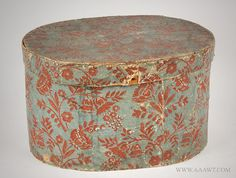 Bandbox, Blue and Red Wallpaper Coved Oval Bentwood Hat Box New Hampshire, Circa 1834