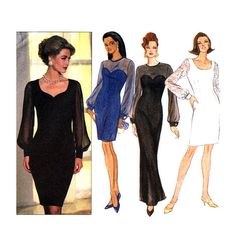 Womens Sheer Evening Dress Sewing Pattern Butterick 6402 UNCUT Maxi or Above Knee Size 6 8 10 12