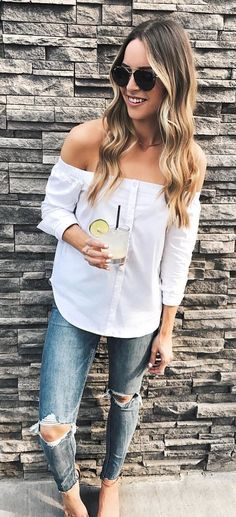 #fall #outfits women's white long-sleeve off-shoulder shirt