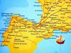 Map of El Camino de Santiago or The Way of St. James - must do this pilgrimage!