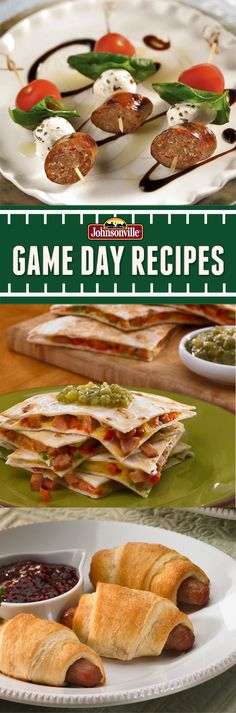 Italian Sausage Caprese Skewer, Chipotle Monterey Jack Cheese Sausage Quesadillas, Easy Sausage Roll-Ups. #GameDay #SuperParty #football
