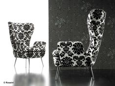 Deco – Black and White Armchair Design Black And White Furniture, Black And White Living Room, Black And White Chair, Black And White Design, Black White, Black Chairs, Damask Bedroom, White Armchair, White Couches