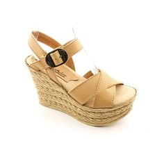 Sbicca Lizzy Womens Size 8 Beige Natural Open Toe Leather Wedge Sandals Shoes
