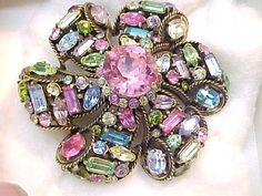 Hollycraft Multi-Color Rhinestone Pin 1957