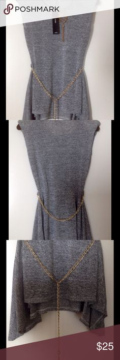 Gray sleeveless tunic, blouse, attached jewelry This beautiful tunic is asymmetric  bottom. Back has accented waistline and makes to interesting flare. Attached shoulder pads make perfect fit! It's made of knitted stretch fabric.Extra is attached jewelry and awesome chain belt! Tunic is size L, but is smaller, so even is marked L it's more like M. vivian Tops Tunics