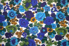 1970s Blue and Purple Floral Chintz Screen by HeritageFabrics, $13.00