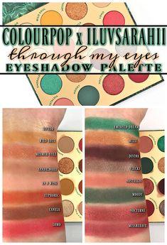 Colourpop x ILuvSarahii THROUGH MY EYES Eyeshadow Palette Get the Look Eye Palette, Eyeshadow Palette, It Cosmetics Celebration Foundation, Urban Decay Primer Potion, Colourpop Lippie, Black Brows, Too Faced Peach, Tarte Shape Tape, Hair