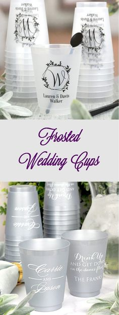 Personalized Frosted Wedding Cups are the perfect favor for your big day! Design your cups to fit your theme and set them out at the bar or table settings. Guests will adore the attention to detail, and take their cup home at the end of the night. Wedding Plastic Cups, Wedding Cups, Wedding Reception Favors, Reception Ideas, Wedding Stuff, Wedding Day, Bouqets, Personalized Cups, Mixed Drinks