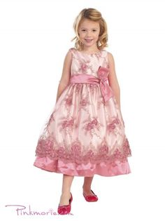 b8196a6f21c Rose Floral Embroidered Satin Flower Girl Dress
