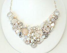 Blush Statement Necklace- Vintage Inspired Necklace- Blush Bridal Necklace- Pearl Necklace- Wedding Necklace- Blush Necklace-Bridal Necklace