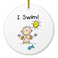 Stick Figure Boy I Swim Ornament