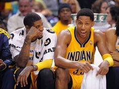 Danny Granger and Paul George share a laugh on the