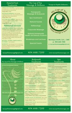 Brochure design for an amazingly talented mobile massage therapist, Monique Smith of My Cup of Tea Massage & Wellness.