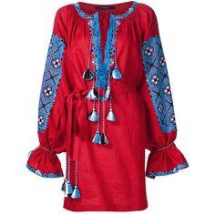 Vyshyvanka Boho Vita Kin Style Ethnic Ukrainian Embroidered Dress... ($368) ❤ liked on Polyvore featuring tops, tunics, dresses, grey, women's clothing, linen tunic, embellished tops, embroidered tunic, colorful tunics and geometric tunic