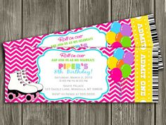 Roller Skating Birthday Ticket Invitation - FREE thank you card included. $15.00, via Etsy.