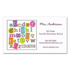 ABC 123 Alphabet Teacher Contact Business Card. Make your own business card with this great design. All you need is to add your info to this template. Click the image to try it out!