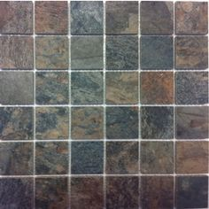 Style Selections Aspen Sunset Glazed Porcelain Mosaic Square Indoor/Outdoor Accent Tile (Common: x Actual: x The shower floor! Shower Floor, Tile Floor, Cast Iron Sink, Tiny Bath, Border Tiles, Lowes Home, Living Room Remodel, Mosaic Wall, Kitchen Flooring