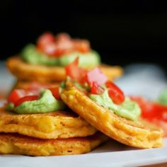 Corn and chickpea flour patties with lime-basil-avocado -cream. Vegan, gluten-free - by Maikin mokomin