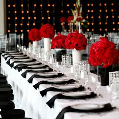 Modern red, black and white reception tables | Oracle Imaging & Design | www.theknot.com