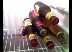 A binder clip on the wire shelf in my RV to hold the beer in place...INGENIOUS!!