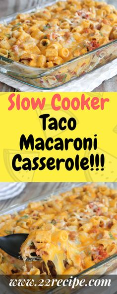Taco Macaroni Casserole - does not involve a slow cooker Taco Macaroni, Macaroni Casserole, Slow Cooker Casserole, Slow Cooker Tacos, Crock Pot Slow Cooker, Crock Pot Cooking, Casserole Dishes, Slow Cooker Recipes, Mexican Food Recipes