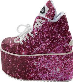 pink glitter platform shoes