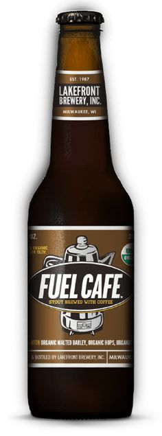 Fuel Café Bottle. This unique stout combines the flavor of organic roasted malts and Milwaukee's renowned organic Fuel Café coffee. Pours a deep, dark color with a beautiful creamy tan head. Coffee aromas dominate the nose, with a background of roasted malt. The fine balance of mild organic hops, gentle brightness of choice coffee and the full mouthfeel from roasted malted barley make this an unforgettable brew.