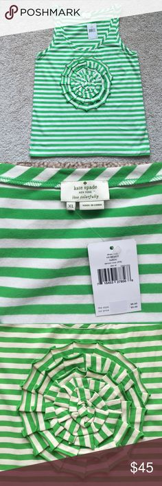 NWT Kate spade tank sz xl Excellent condition green and white striped tank with flower accent on front ! Soft and comfy fabric ! kate spade Tops Tank Tops
