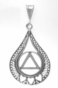 Alcoholics Anonymous AA Sterling Teardrop Pendant With 3 Hearts 833 3 | eBay