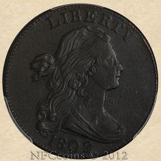 1802 Large Cent AU53 PCGS, obverse