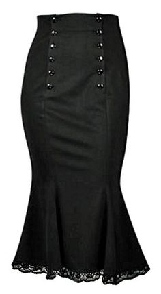 A fitted below knee length gothic skirt made from medium weight black polyester with a slight stretch to ensure figure-hugging effect. Gothic Fashion, Timeless Fashion, Corporate Goth, Professional Outfits, Work Looks, Work Attire, Alternative Fashion, Pretty Outfits, Couture
