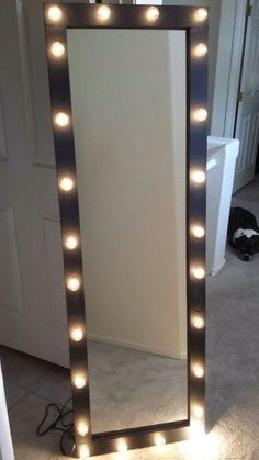 Tall Floor Mirror With Lights.Hollywood Vanity Mirror With Lights Makeup Vanity Mirror . 17 DIY Vanity Mirror Ideas To Make Your Room More . Home and Family Decoration Ikea, Decoration Bedroom, Decoration Design, Room Decor, Diy Vanity Mirror With Lights, Mirror Ideas, Full Length Mirror With Lights, Mirror Vanity, Vanity Lighting