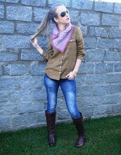 """Look do dia com uma """"pegada"""" country! A gola de tricô maravilhosa foi feita com o Lã Seda e detalhes em Charmoso! <3"""