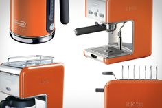 DELONGHI KMIX COLLECTION  Fans of colorful kitchen appliances, fear not: the Delonghi kMix Collection ($100-$300) has you covered. Available in a variety of colors — including black, white, blue, red, green, yellow, orange, magenta, and the ever-popular un-color stainless steel — the collection includes a toaster, tea kettle, 5- or 10-cup coffee maker, and an espresso maker, each of which features a durable die-cast aluminum exterior.