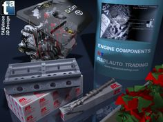 121 - Ref. Engine :: Rendering 3D Display Exhibition Engine Components ... Cylinder Heads, Camshafts, Engine Kit Sets ... #cylinderheads #camshafts #enginekitsets