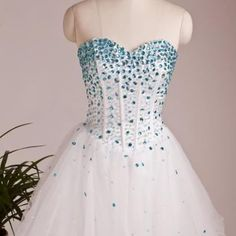 Custom Made Sweetheart Neck Short Prom Dresses,Short Dresses for Prom,White Tulle Homecoming Dress,Crystal Graduation Dress