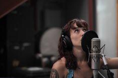 Recording vocals. #leadsinger #bandphoto #tattoo #sundress #microphone #punkrock