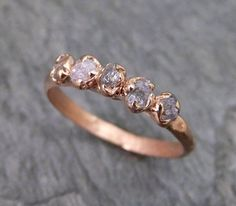 Raw Pink Diamonds Rose Gold Ring Wedding Band Custom One Of a Kind Gemstone Ring Rough Diamond Ring
