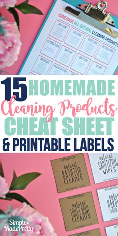 These cleaning products were so easy to make! I downloaded the free printable cheat sheet and the labels and made my own cleaning products using essential oils!