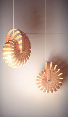 — By Nigel Schütte: nautilus shell lamp - Old Lamp Shades, Hanging Lamp Shade, Light Art, Lamp Light, Cool Lighting, Lighting Design, Origami Lights, Laser Cut Lamps, Shell Lamp