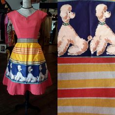 Gorgeous 1960's pinny with fabulous poodles in excellent condition  £22 inc p&p. 1208.
