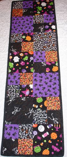 Halloween Table Runner Quilt  Purple Black Orange  by KeriQuilts, $38.00