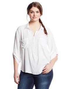 BB Dakota Women's Plus-Size Tulee Rayon Twill Washed Henley, Optic White, 3X