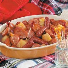 Barbecue Sausage Bites - Sweet-and-tangy appetizer pairs pineapple & barbecue sauce with miniature smoked sausages