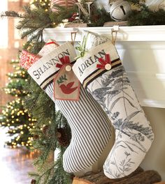 Ticking & toile Christmas stockings <3