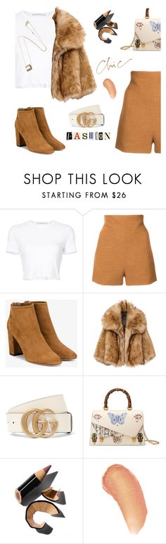 """""""Dress it Up!!"""" by jan31 ❤ liked on Polyvore featuring Rosetta Getty, Aquazzura, Gucci, Bobbi Brown Cosmetics, Kjaer Weis, shorts, tshirts, anklebooties and fauxfur"""