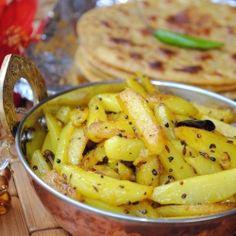 Aloo bhaji ~ dry potato stir fry with  aromatic Indian five spice.